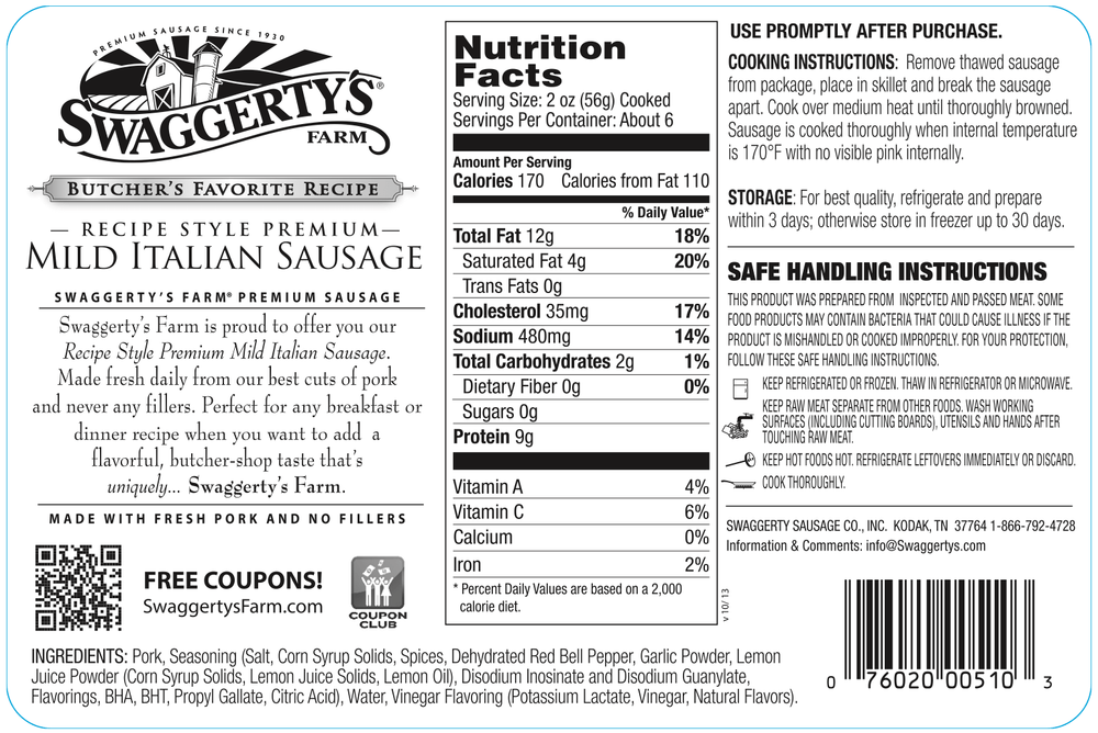 Swaggerty's Farm 16oz Mild Italian Pork Sausage - Nutrition Facts