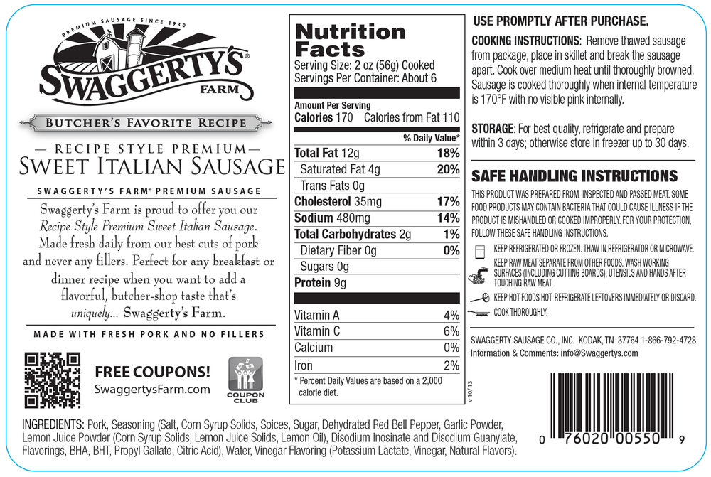 Swaggerty's Farm 16oz Sweet Italian Pork Sausage - Nutrition Facts