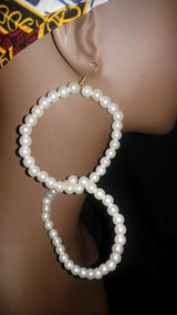 Double Pearl Hoops