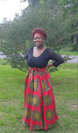 Red Ankara Print Maxi Skirt (Includes Free Matching Headband)