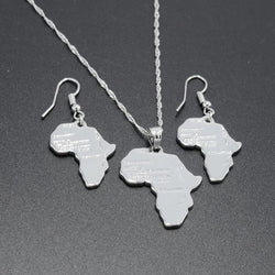 Africa Map Set. Necklace, Earrings (Silver Plated)