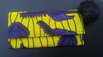Yellow and Purple Ankara Wallet