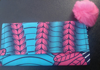 Turquoise and Pink wallet and Earring Set