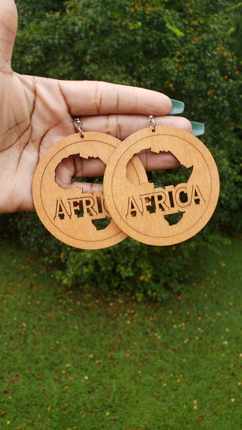 Natural Wood Africa Map Outline Earrings