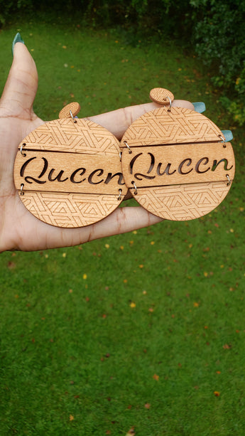 Natural Wood Queen Earrings