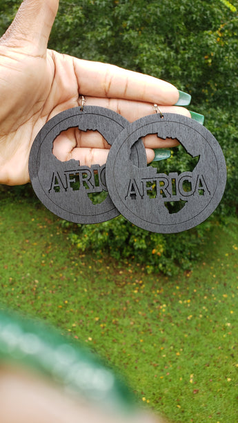 Black Africa Map Outline Earrings