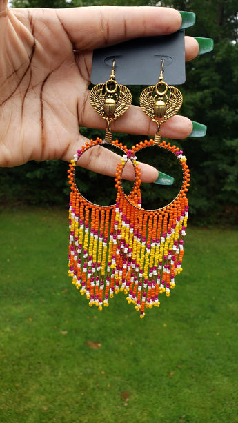 Colorful Scarab Chandelier Earrings