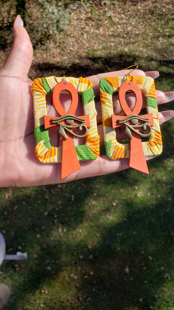 Eye of Horus Ankh Earrings (Kente/Orange)