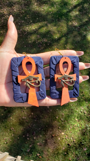 Eye of Horus Ankh Earrings (Navy)