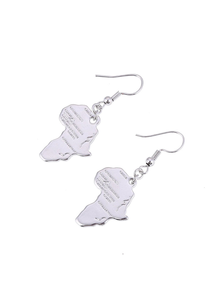 Africa Map Earrings (silver Plated)