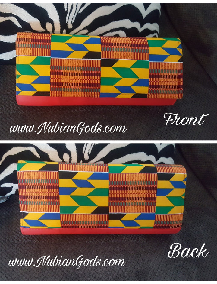 Long Red Kente Clutch