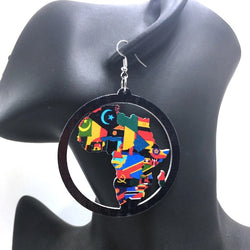 Africa Map Wooden Earring