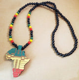 Wood Africa Map Necklace