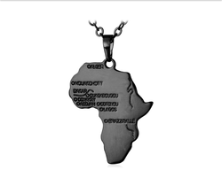 Africa Map Necklace (Black)