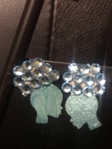 Afro Girl Stud Earrings (Rhinestones)