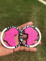 Tribal Africa Map Earrings  (black,pink & white)
