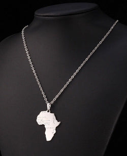 Silver Africa Map Necklace