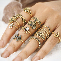 Retro Nubian Gold Jewel Rings