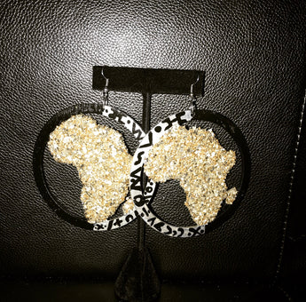 Africa Map Wooden Earring (black & silver)