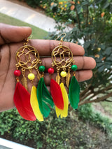 Rasta Feather Earrings