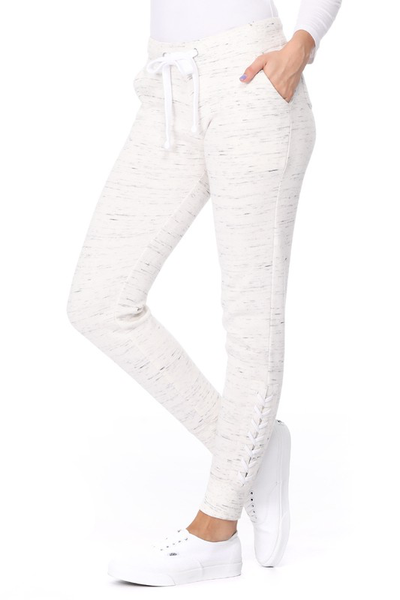 Oatmeal Lace Up Sweatpants
