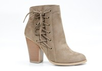 Taupe Tie Up Heel Booties