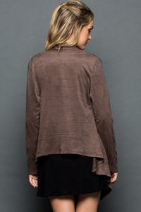 Suede Open Cardigan