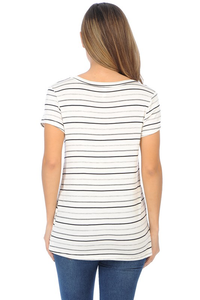 BASIC STRIPE SHORT SLEEVE TOP