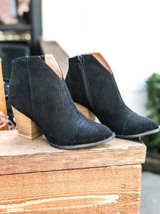 V Cut Bootie Black