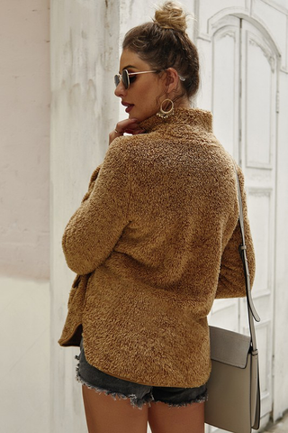 Fuzzy High Neck Pullover