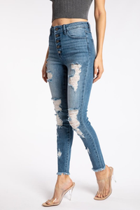 Sexy Exposed Button Jean