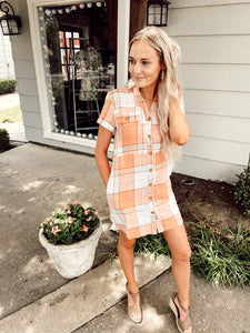 Just Peachy Linen Dress