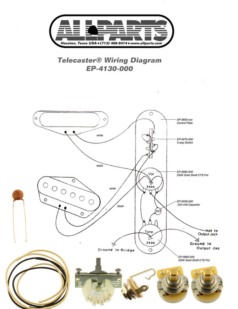 wiring kit fender telecaster tele complete with schematic diagram usa texas guitar shop. Black Bedroom Furniture Sets. Home Design Ideas