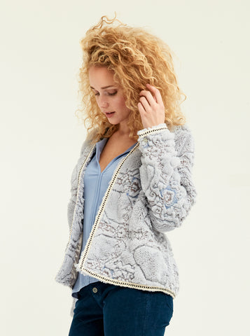 Embossed Plush Fur Cardi