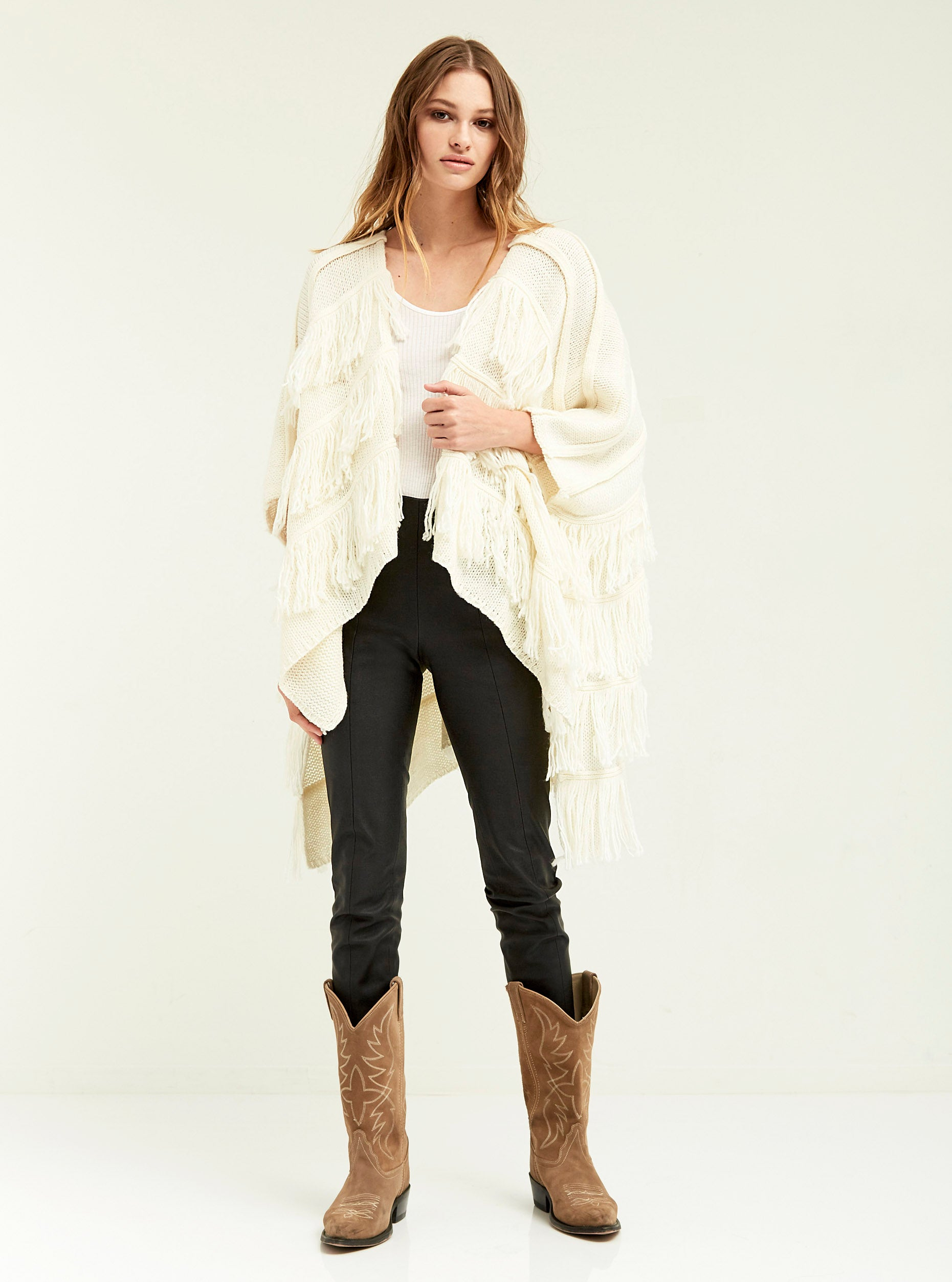 Fringe Sweater Poncho - Boundless North Online Store
