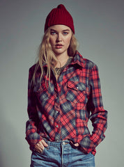 Stretch Button Front Stormy Tartan - Boundless North Online Store
