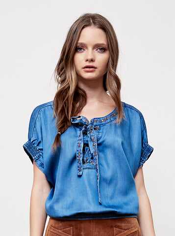 Feather Canyon Embroidered Denim Top