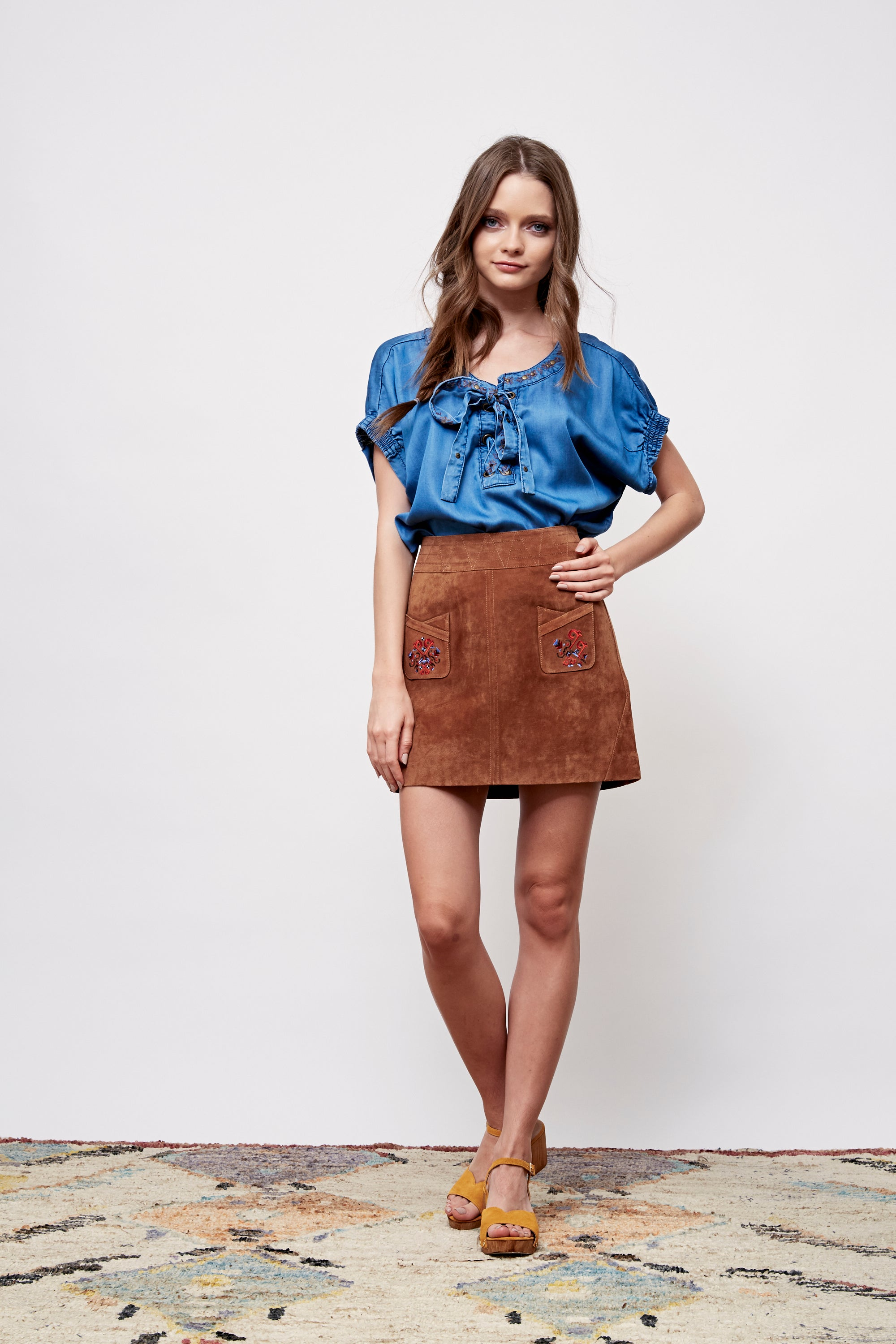 Feather Canyon Embroidered Denim Top - Boundless North Online Store