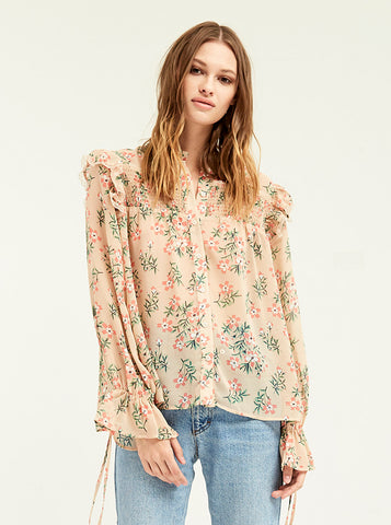Smocked Antique Floral Blouse