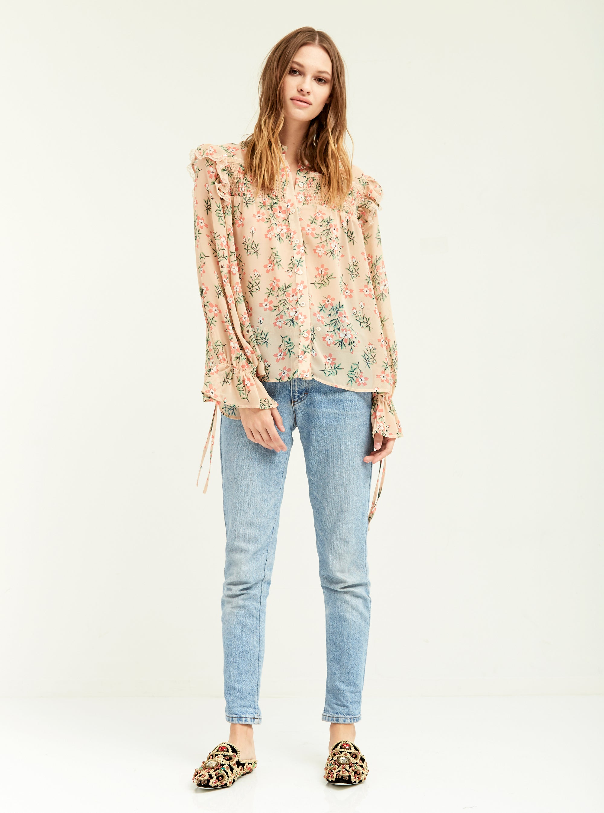 Smocked Antique Floral Blouse - Boundless North Online Store