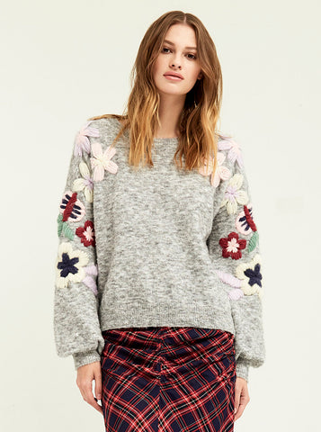 Embroidered Daisy Sweater