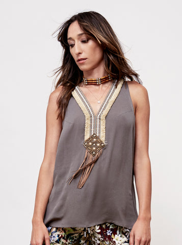 She's All That Tassel Trimmed Tank Top