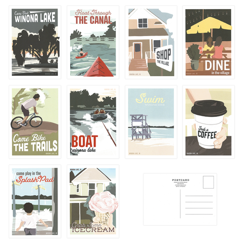 Winona Lake Travel Postcard Set | package of 10