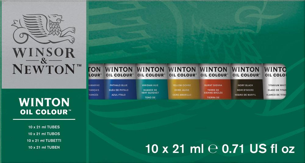 This set offers the opportunity to try out Winton oils by offering a range of ten 21ml tubes.