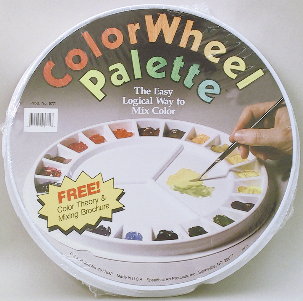 This palette holds paints as it helps explore color relationships.