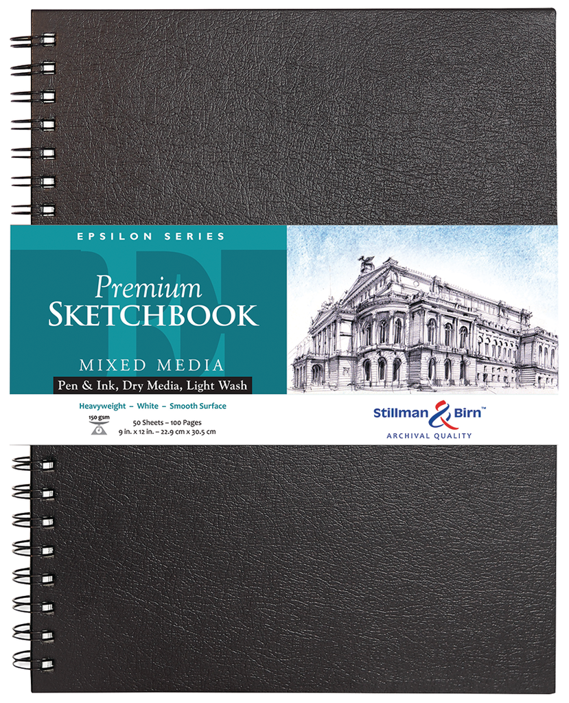 "Stillman /& Birn Premium Mixed Media Sketchbooks Epsilon 50 Sheet 7x10/"" Wirebound"