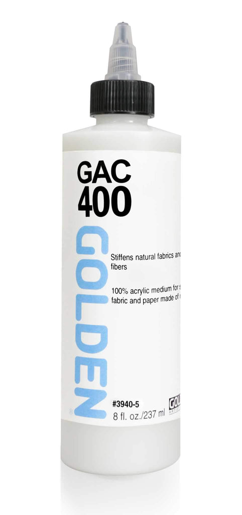 When applied over a fabric support, such as cotton, linen or silk, the GAC 400 will serve to dramatically stiffen the support.