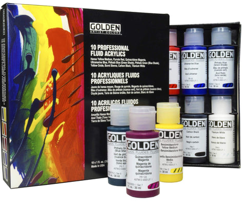 Golden Fluid Acrylics 10 Color Set