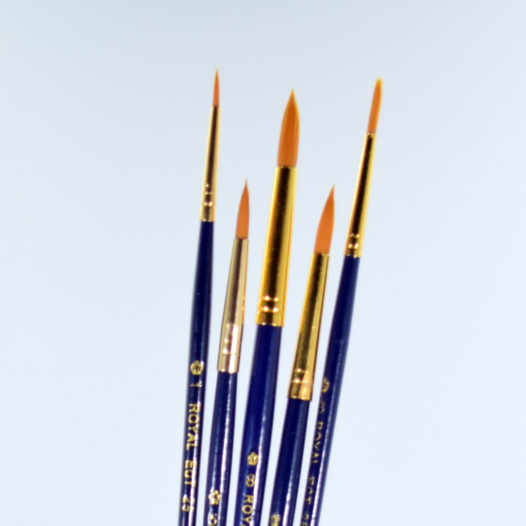 School Grade Golden Taklon Round Brushes