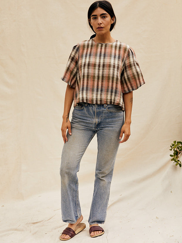 The Lily Top w/Sleeves in PlaidTops - sugarcandymtn.com